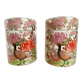 Mid-Century Kutani Satsuma Pheasant Themed Tea Caddies - A Pair For Sale