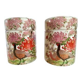Mid-Century Kutani Satsuma Pheasant Themed Tea Caddies - A Pair For Sale