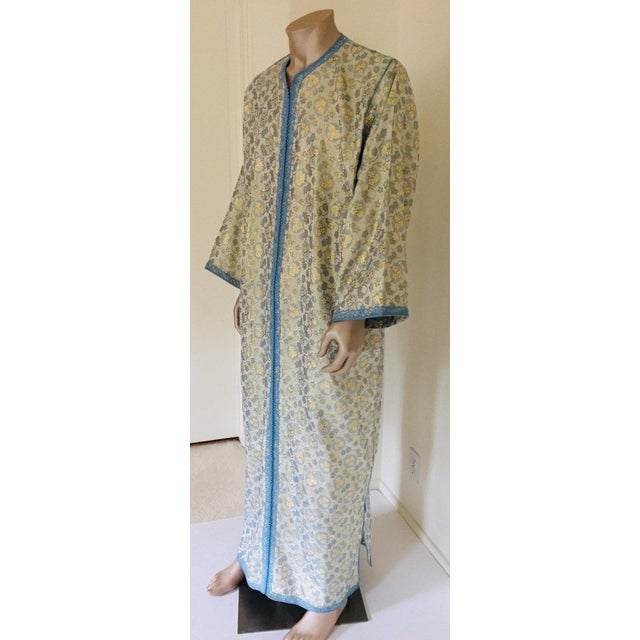 Metallic blue and silver brocade dress kaftan with silver and blue trim. Handmade long maxi dress caftan from North...