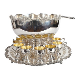 Vintage English Georgian Style Silver Plated Copper Punch Bowl Set - 15 Piece For Sale