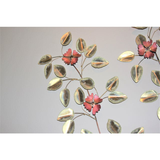 Curtis Jere Mid-Century Modern Brass Enameled Floral Signed Wall Art - a Pair For Sale - Image 4 of 9