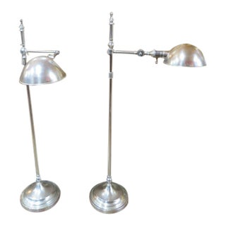 Vintage Mid Century Modern Koch and Lowy Brushed Chrome Floor Lamps, C1960 - a Pair For Sale