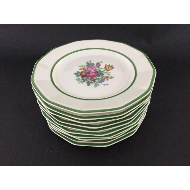 """Black Knight China"" Floral Lunch Plates - Set of 10 For Sale - Image 4 of 6"