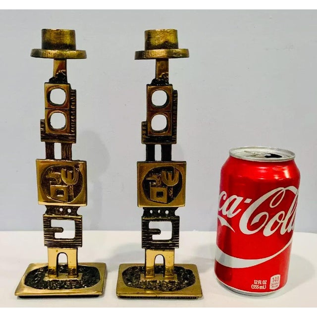 1960 Very Rare, Mid Century Modern, Artisan created Sculptural Pair of Brass Brutalist Candleholders suitable for...