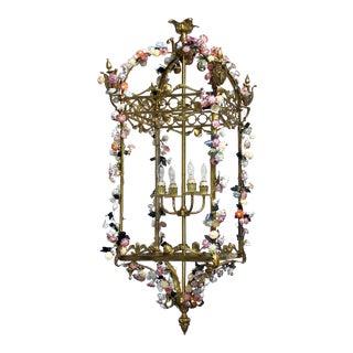 Antique French Louis XVI Style Bronze Doré 4-Light Lantern With Applied Porcelain Flowers For Sale