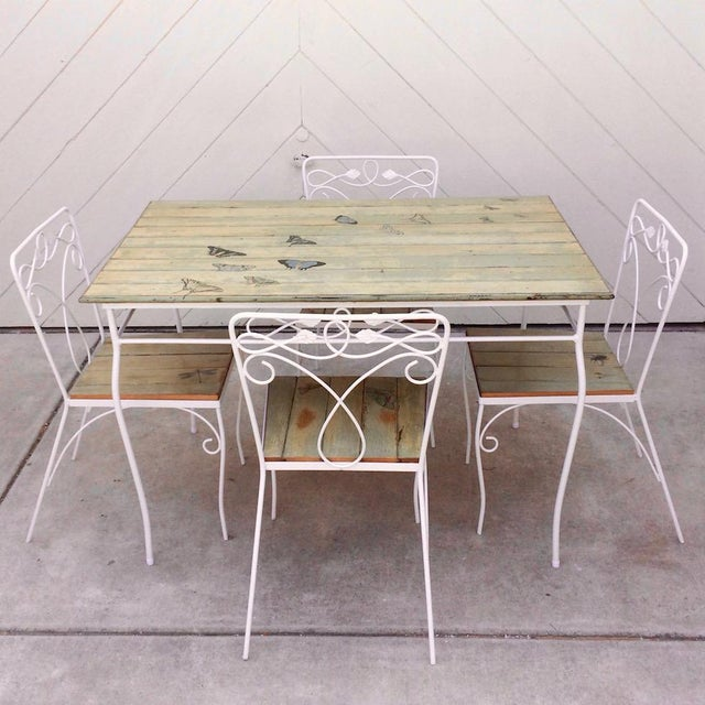 Vintage Woodard Metal and Bead Board Patio Set - Table and 4 Chairs For Sale - Image 13 of 13