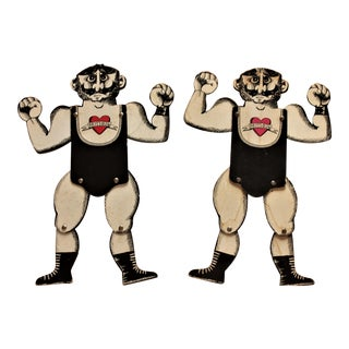 Vintage Strongmen Puppets, Cardboard/Paper Dolls - a Pair For Sale