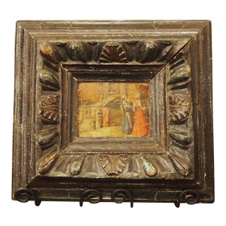 Renaissance Oil on Board Painting of Figures in Front of a Walled City For Sale