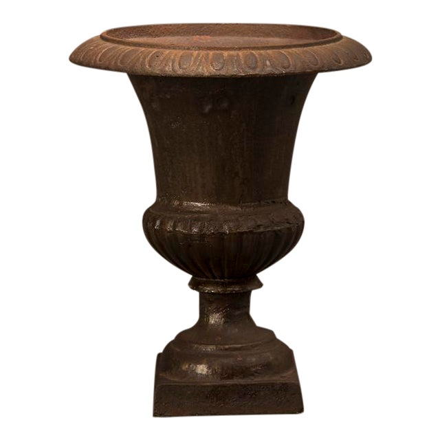 A cast iron garden urn from France c. 1890 in the form of an antique Italian original having a lovely diminutive scale For Sale