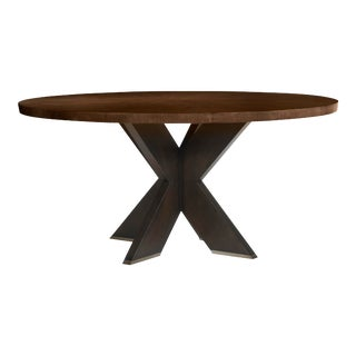 "Century Furniture Casa Bella ""X"" Base Round Dining Table, Sierra and Charbrown For Sale"