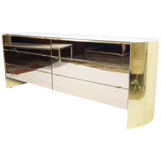 Smoked Mirror and Brass Finish Cabinet by Ello For Sale