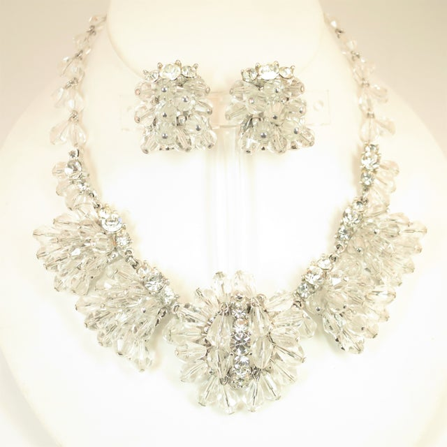 Mid-Century Hand-Made Austrian Crystal Cluster Necklace Suite 1950 For Sale - Image 13 of 13
