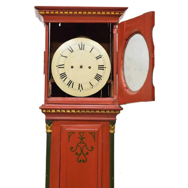 Danish Empire Bornholm Painted Grandfather Clock For Sale - Image 4 of 8