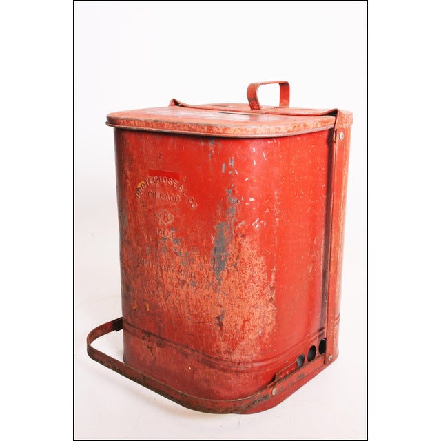 Vintage Industrial Red Metal Trash Can with Flip Top Lid For Sale - Image 9 of 11