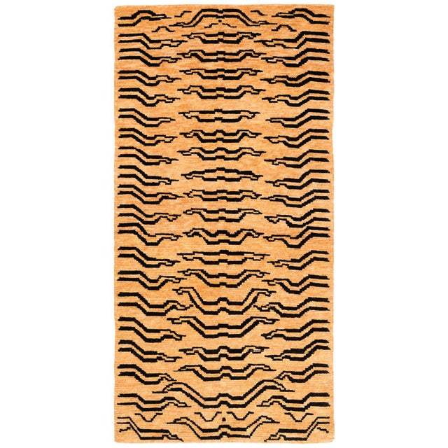 Black and Golden Tan Wool Tibetan Tiger Area Rug For Sale In New York - Image 6 of 6