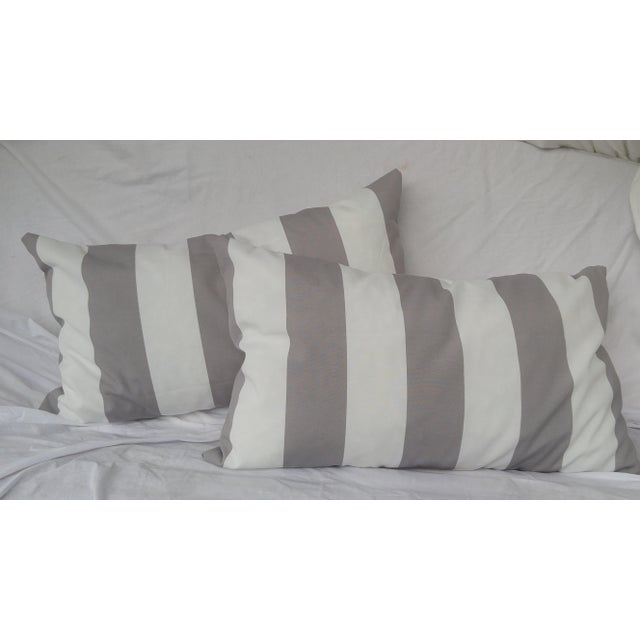 Gray Amp White Striped Indoor Outdoor Pillows A Pair