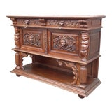 Image of Vintage French Renaissance Ornately Carved Marble Credenza Buffet For Sale