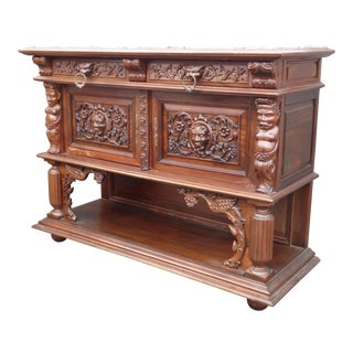 Vintage French Renaissance Ornately Carved Marble Credenza Buffet For Sale