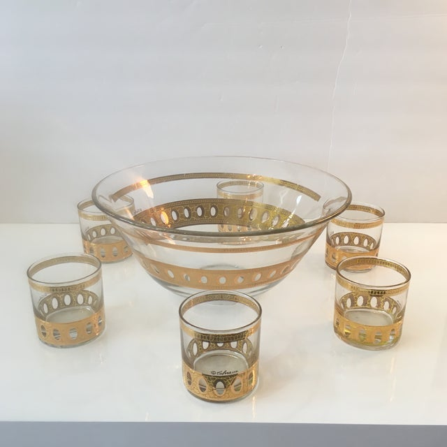 Mid-Century Modern Culver Ltd Glass Ice Bucket/ Punch Bowl With Matching Glasses For Sale - Image 9 of 11