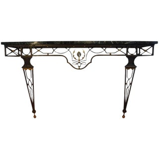 French Neoclassical Style Gilbert Poillerat Attributed Iron Console Table For Sale