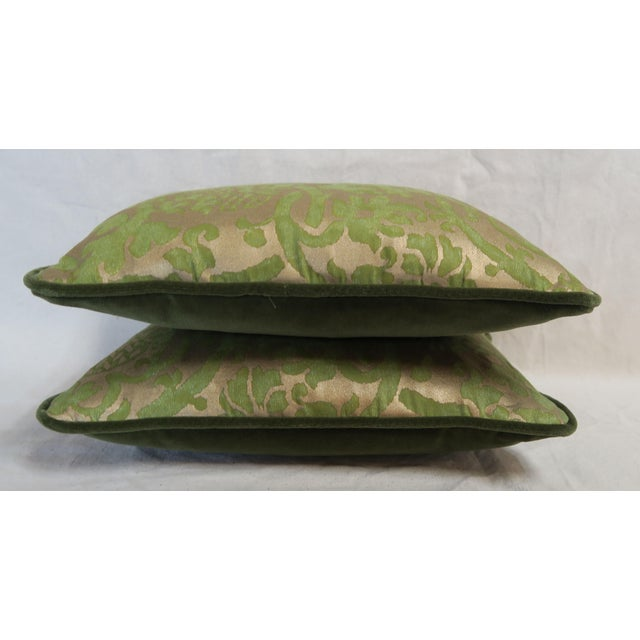 Pair of Green Orsini Fortuny Pillows For Sale In Los Angeles - Image 6 of 8