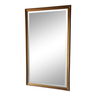 Antiqued Victorian Regency Style Rectangular Wall Hanging Beveled Mirror For Sale