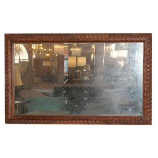 Carved Mahogany Distressed Mirror For Sale
