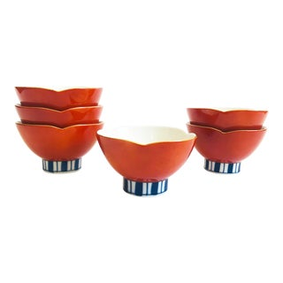 Vintage Red and Blue Lotus Bowls - Set of 6 For Sale
