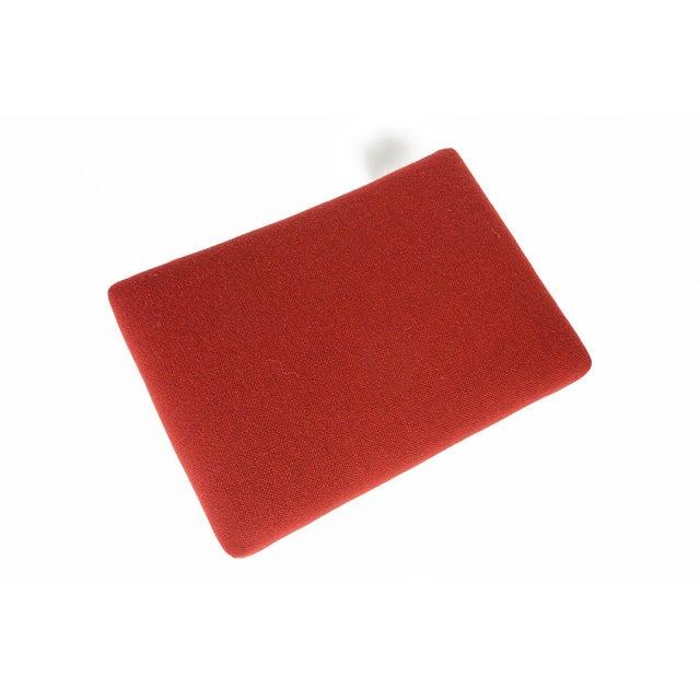 Danish Modern Crimson Wool Ottoman - Image 5 of 6