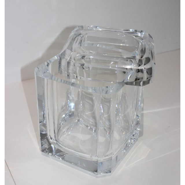 Vintage Lucite Ice Bucket with Cantilevered Lid from a South Beach estate - crisp and chic.