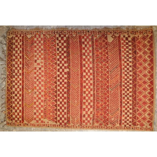 "Vintage Moroccan Wool Straw Rug - 6'8"" x 9'7"" - Image 2 of 4"