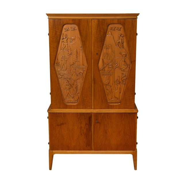 1961 E. Hoglunds Relief Carved Cabinet For Sale