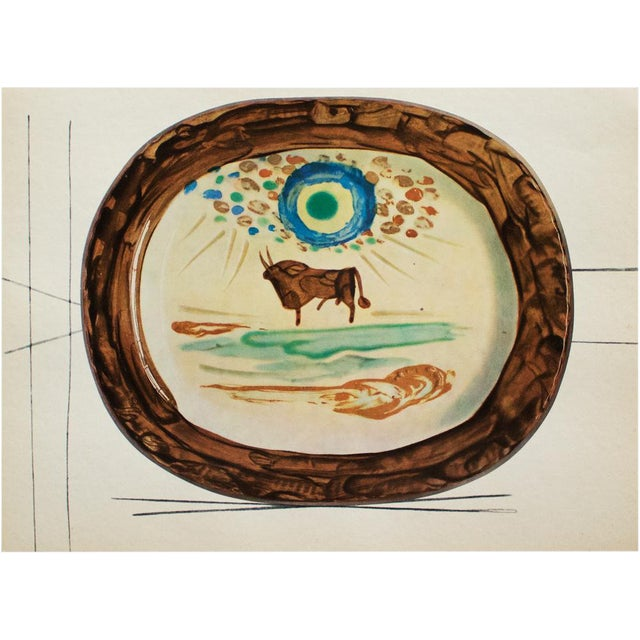 A rare exquisite original period offset lithograph of ceramic plate or charger by Pablo Picasso, depicting a Young Bull....