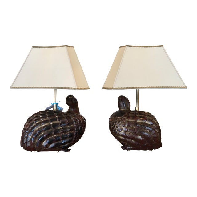 Antique Polychrome Decorated Wood Bird Figure Lamps - a Pair - Image 1 of 10