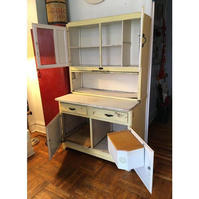 Yellow Vintage Farmhouse 2-Piece Painted Hoosier Cabinet For Sale - Image 8 of 8