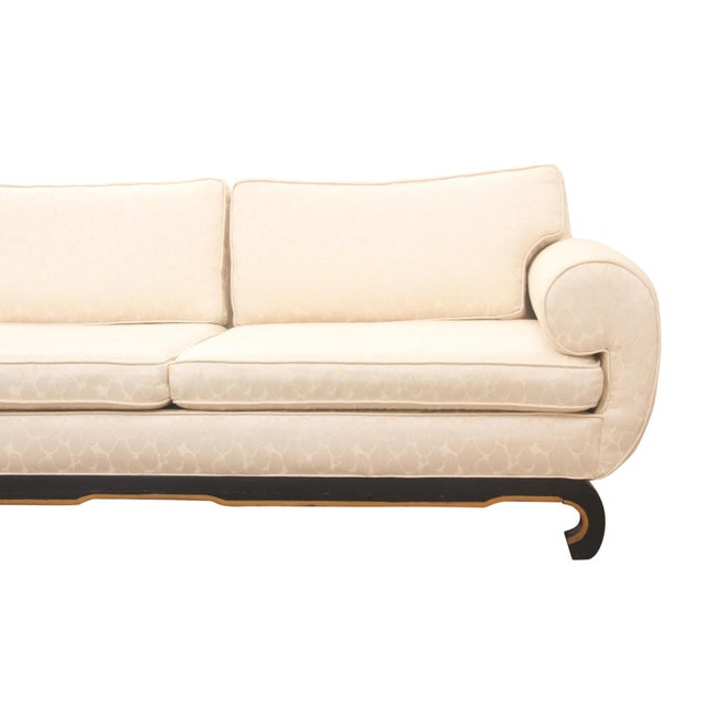 "James Mont Style Ming Sofa in Ivory ""Champagne Bubble"" Fabric For Sale - Image 4 of 8"