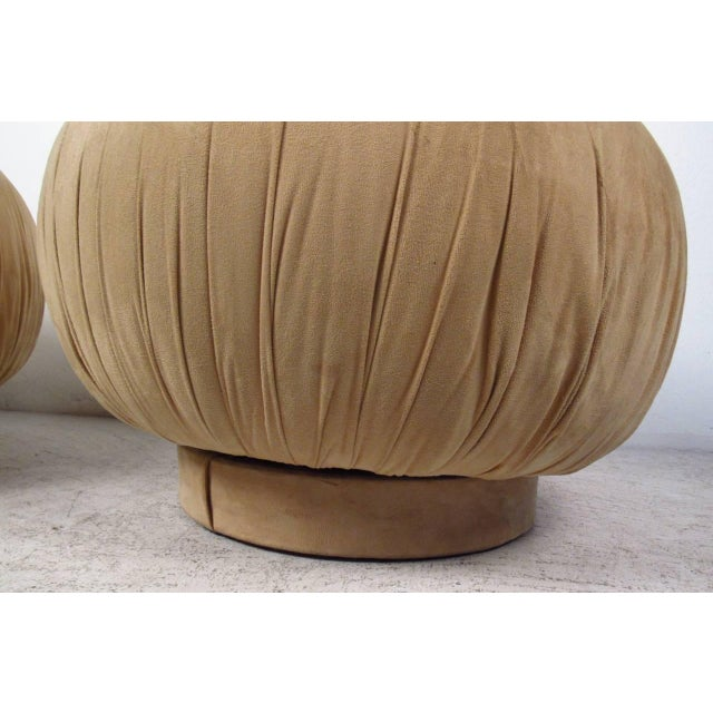 """Karl Springer Style """"souffle"""" Poufs - a Pair - Image 3 of 6"""