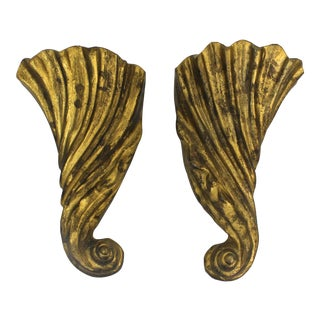 Indian Gilt Cast Iron Wall Pockets - A Pair For Sale