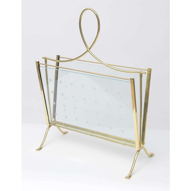 1940s Italian Brass Magazine Rack with Hand-Cut Starburst Glass Panels For Sale - Image 10 of 10