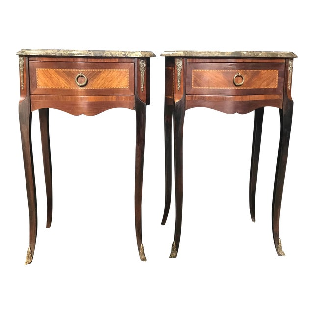 French Vintage Mahogany & Satinwood Inlay Night Stands With Marble Tops -A Pair For Sale