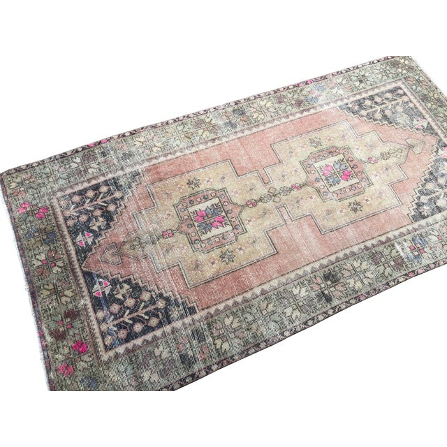 Traditional Vintage Distressed Turkish Handmade Area Rug-4′2″ × 8′3″ For Sale - Image 3 of 7