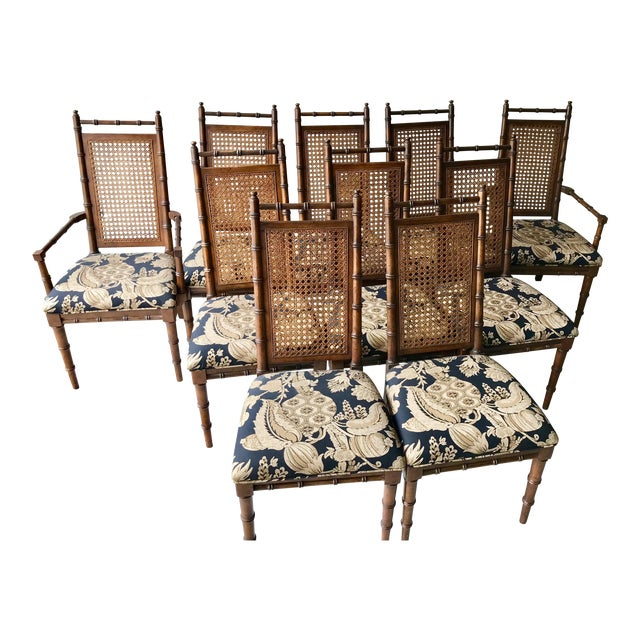 1960's Vintage Cane Back Faux Bamboo Dining Chairs- Set of 10 For Sale