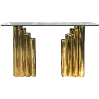 Karl Springer Style Tubular Brass Chevron Console Table