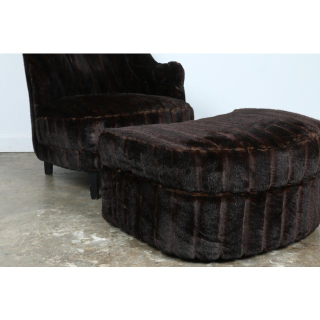 Furry Lounge Chair with Ottoman - Image 8 of 11