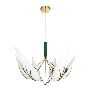 Stilnovo Brass and Murano Glass Chandelier 1950s Italy For Sale