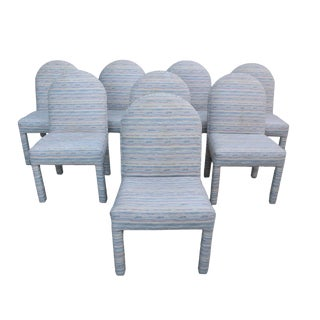 1980s Vintage Fully Upholstered Designer Dining Chairs - Set of 8 For Sale