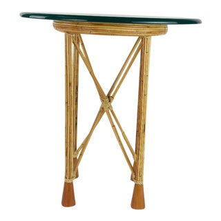 Mid-Century Wicker & Bamboo Glass Top Side Table For Sale