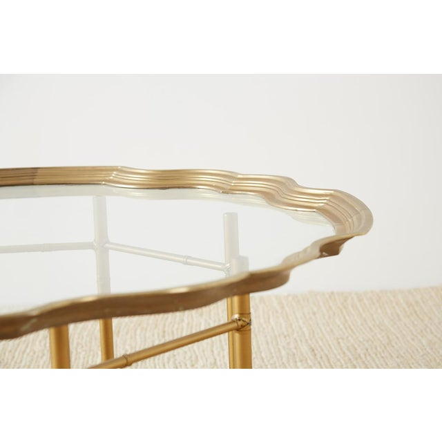 Brass Baker Brass and Glass Tray Top Coffee Cocktail Table For Sale - Image 7 of 13
