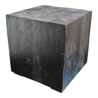 Shou-Sugi-Ban Side Table For Sale