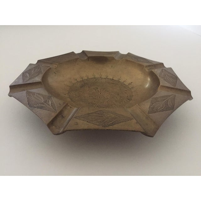 Gold Vintage Mid Century India Brass Octagonal Etched Design Ashtray For Sale - Image 8 of 10
